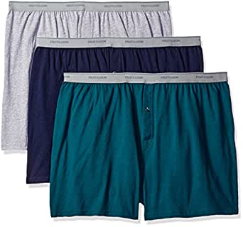 Fruit of the Loom Men's Big Man Knit Boxers (Pack of 3), Assorted Solids, 2XB