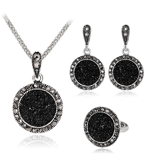 Ezing 3 PCS Black Jewelry Set for Women Crystal Drusy Pendant Necklace Earring Ring