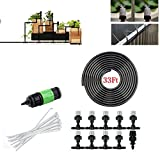 GJH One 33ft Garden Patio Micro Water Mister Air Misting Cooling Irrigation System Sprinkler