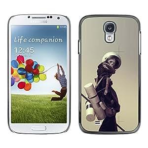 KLONGSHOP // Cubierta de piel con cierre a presión Shell trasero duro de goma Protección Caso - Astronauta Esqueleto - Samsung Galaxy S4 //