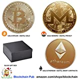 Future BuyZ Gold Plated Bitcoin Coin BTC Token Miner Cryptocurrency Commemorative Collection Limited Edition with Case Box (1 PC w/Gift Box)