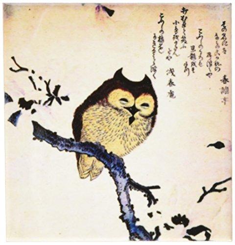 3dRose cst_193079_3 Print of Vintage Japanese Owl Woodcut Painting Ceramic Tile Coasters, Set of 4