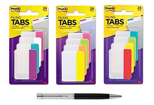 Assorted Color 12 Tab - Post-it Tabs, 2-Inch Solid, Assorted Primary/Bright/Neon Colors, 6-Tabs/Color, 12 Colors, 72-Tabs/Bundle - Bundle Includes Plexon Ballpoint Pen