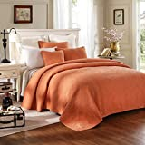 Tache Tuscany Sunrise 3 Piece Orange Floral Reversible Bedspread Set, Cal King