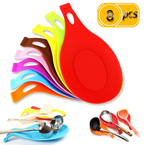 Newbested 8 Pcs 8 Color Kitchen Silicone Spoon Rest Flexible Almond Shaped Spoon Holder Heat Resistant Colorful Cooking Utensil Ladle Spatula Rest