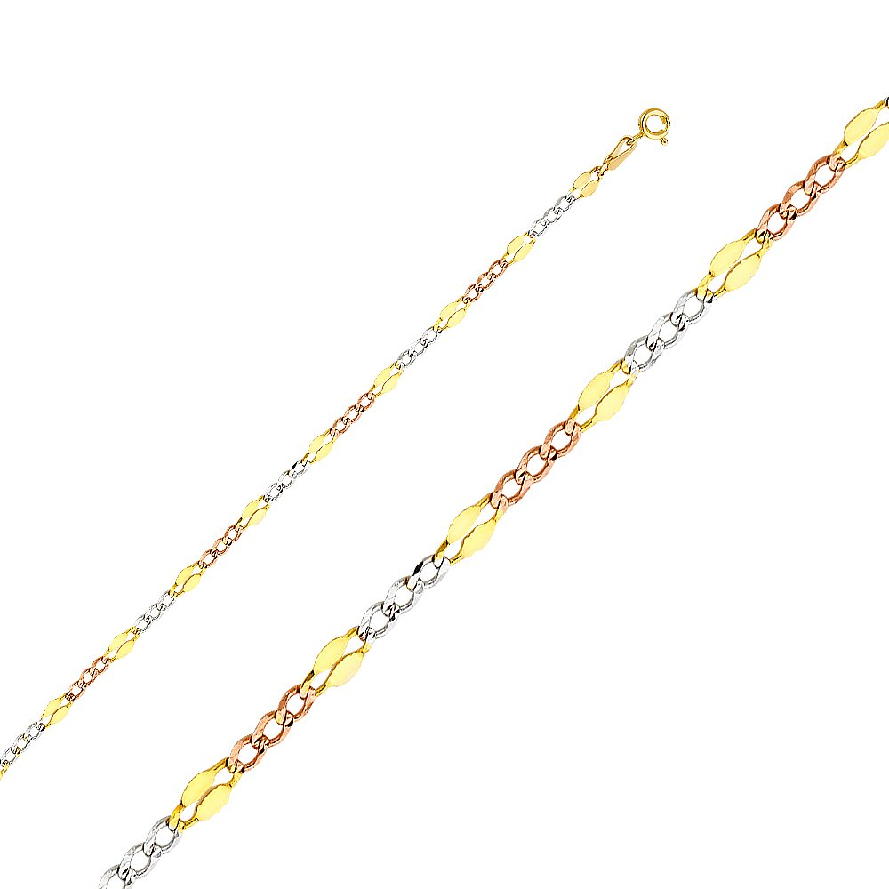 FB Jewels 14K White Yellow and Rose Three Color Gold Figaro Chain Necklace