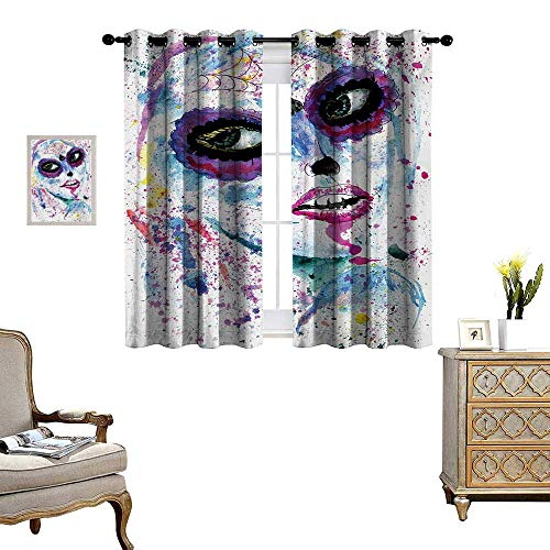 Girls Window Curtain Fabric Grunge Halloween Lady with Sugar Skull Make Up Creepy Dead Face Gothic Woman Artsy Drapes for Living Room W55 x L45 Blue Purple -