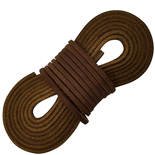 (Tofl Leather Boot Laces-1 Pair 72 Inches Long-Easy Sizing Cut to Fit (Medium Brown) )