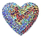 """[Single Count] Custom and Unique (2"""" Inch) Sequined Beautiful One-Of-A-kind Shimmering Shining Heart """"Love"""" Symbol w/ Stitching Iron On Embroidered Applique Patch {Silver Rainbow Colored}"""