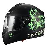 """Biohazard"" Full Face Matte Green Dual Visor Street Bike Motorcycle Helmet by Triangle [DOT] (Medium)"
