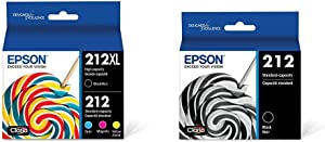 Epson 212XL, Standard-Capacity Color and High-Capacity Black Ink Cartridges, (CMYK) 4-Pack & T212 Claria Standard Capacity Cartridge Ink - Black, T212120-S