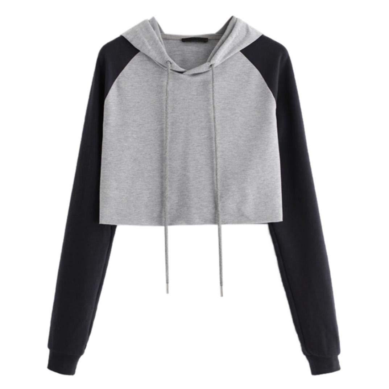 Ankola Cropped Hoodies, Women Patchwork Sweatshirt Long Sleeve Crop Top Hooded Pullover Tops Shirt (L, Gray)