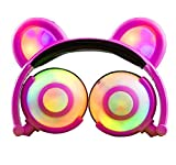 Cheap Eoncore Kids Headphones with LED Lights Bear Ear Stereo Eearphones Noise Reduction Wired Over Ear Gaming Headsets for Boys Girls (Pink)