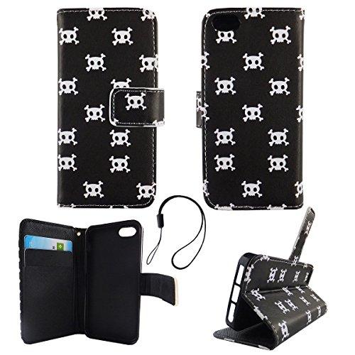 König-Shop Wallet Case Kunstlederhülle für Apple iPhone 5 / 5s / SE - Cover Flip Tasche in Totenkopf Design mit Kartenfach und Ständerfunktion