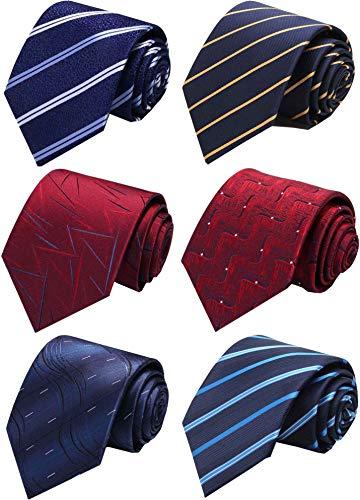 WeiShang Lot 6 PCS Classic Men's 100% Silk Tie Necktie Woven JACQUARD Neck Ties (Style 11) (Best Of Class Ties)