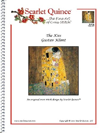 Large Size Symbols Scarlet Quince KLI001lg The Kiss by Gustav Klimt Counted Cross Stitch Chart