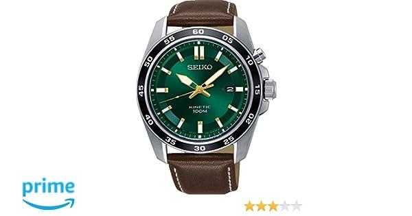 Amazon.com: Seiko Mens SKA791 Silver Leather Kinetic Fashion Watch: Seiko: Watches