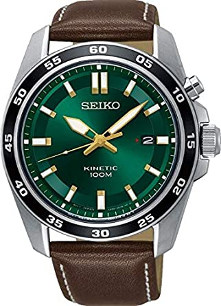 Seiko Mens SKA791 Silver Leather Kinetic Fashion Watch