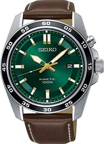 Amazon.com: Seiko Mens SKA791 Silver Leather Kinetic Fashion Watch: Seiko: Watches