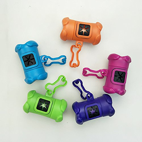 CoCocina Dog Bone Type Pet Garbage Bag Dispenser Bone Type Pet Garbage Bag Pick Up Bag Pet Supplies - Red - Aluminum Ring ()