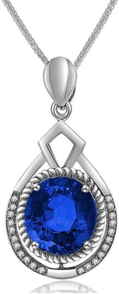 TFTHG Collar Esmeralda Mujer 925 Plata Esterlina Piedras Preciosas Oval Cut Colgante Collar con Corte Redondo Creado Regalo para Regalos de Novia