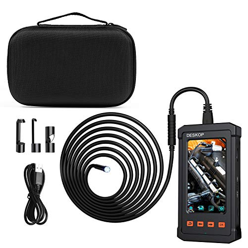 16.5FT DESKOP Industrial Endoscope 4.3inch LCD Screen with 5.5mm Borescope 1080P HD Micro Inspection Camera with Semi Rigid Cable for Pipe Engine Home Inspection