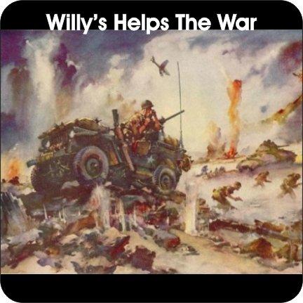 コルク裏地付きコースター4枚セット Willys Jeepは戦争アクションと勝利を支援 1944広告   B07FZB33XB