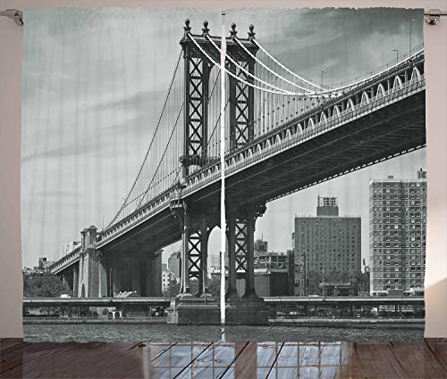 Ambesonne New York Curtains, Bridge of NYC Vintage East Hudson River Image USA Travel Top Place City Photo Art Print, Living Room Bedroom Window Drapes 2 Panel Set, 108 W ()