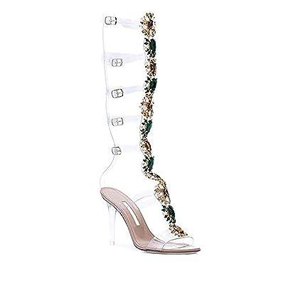 1771a73aca azmodo Women Knee High Gladiator Stiletto Heel Strappy Buckle Crystal  Rhinestones Sexy Dress Sandals