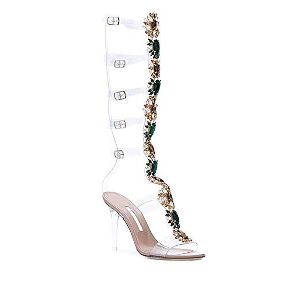 3a29b513849 azmodo Knee High Gladiator Stiletto Heel Strappy Buckle Dress ...