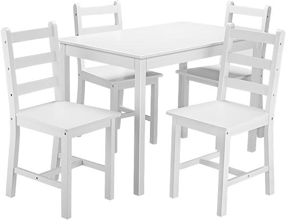 Saiyun - Juego de mesa de comedor y 4 sillas de madera maciza, muebles de comedor contemporáneos,