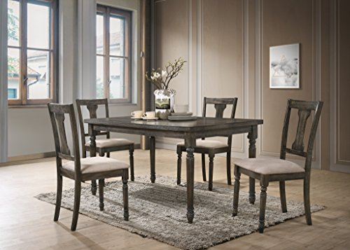 Roundhill Furniture T402-C402-C402 Ashton 5-Piece Wood Dining Set: Table and Four Chairs, Brown ()