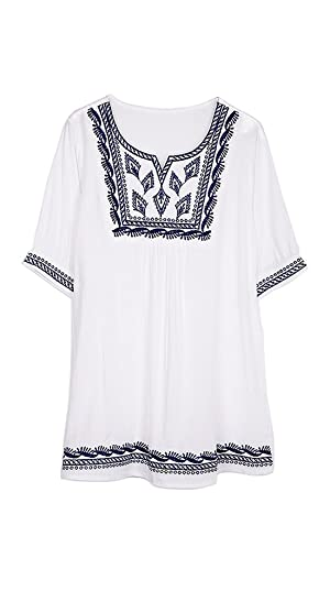 ZATOGOO Women's National Wind Casual Embroidery Loose Round Neck Short Sleeve Blouse Top,White
