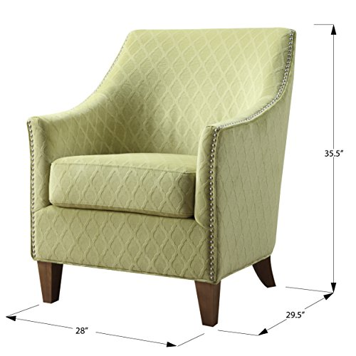 Emerald Home Kismet Wembley Lime Accent Chair with Diamond Pattern Fabric And Nailhead Trim