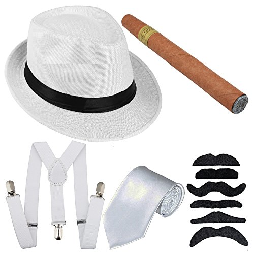 1920s Mens Costume Accessory - Manhattan Fedora Hat, Y-Back Suspenders Adjustable Elastic, Gangster Tie,Toy Cigar & Fake Mustache (Onesize, White)