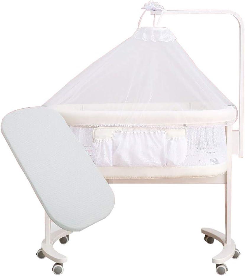 LXJ Cuna Multifuncional para bebés, Cuna de Madera portátil y móvil para recién Nacidos con mosquitera y colchón, se Pueden unir, Blanco, 100 × 56 × 83 cm