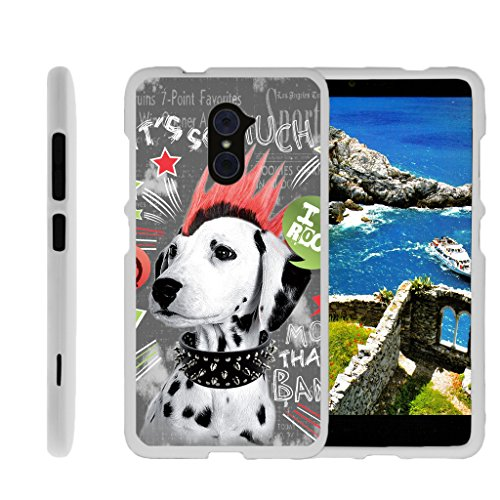 - Compatible for ZTE Imperial Max Case | Max Duo Case [Slim Duo] Ultra Slim Lightweight Matte Finish Hard 2 Piece Cover Protector Cool Design on White by TurtleArmor - Rockstar Dog