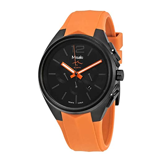Misaki Shark - Reloj para Hombre, Esfera Negra, Silicona, Color Naranja: Amazon.es: Relojes