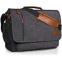 Estarer Laptop Messenger Bag 17 Inch Water-resistance Canvas Shoulder Bag for Work College