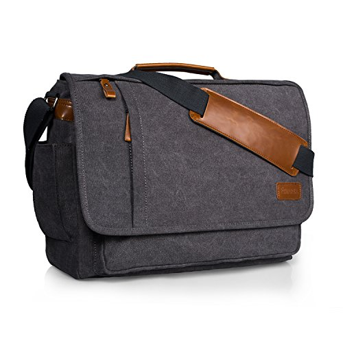 Estarer Laptop Messenger Bag 17-17.3 Inch Water-Resistance Canvas Shoulder Bag for Work College