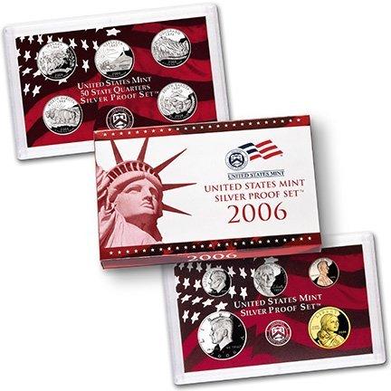 2006 S Silver US Proof Set Dollar, Half Dollar, Quarters, Dime, Nickel, Penny US Mint Proof