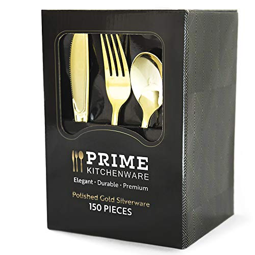150 Gold Plastic Silverware Set - Gold Disposable Silverware - 50 Gold Plastic Forks, 50 Gold Plastic Spoons, 50 Gold Plastic Knives – Heavy Duty Bulk Cutlery for Party, Birthday, Weddings -