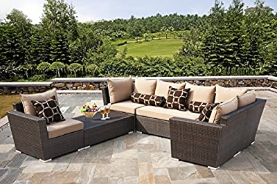 Outdoor Wicker Patio Furniture 6pc Sofa Seating Set w/ Sunbrella Fabric Cushion