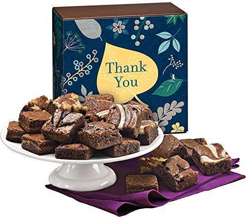 Fairytale Brownies Thank You Magic Morsel 24 Gourmet Food Gift Basket Chocolate Box - 1.5 Inch x 1.5 Inch Bite-Size Brownies - 24 Pieces