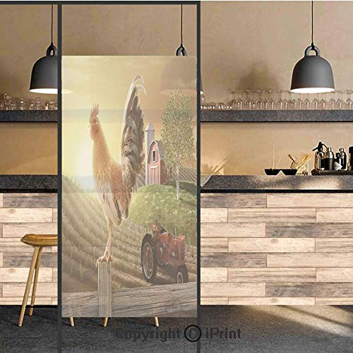 3D Decorative Privacy Window Films,Farm Barn Yard Image Kitchenware and Home Decor Rooster Early Bird Natural Sunrise,No-Glue Self Static Cling Glass film for Home Bedroom Bathroom Kitchen Office 24x7