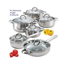 Best Stainless Steel Cookware Set Silver 12 Piece with Glass Lids Has a Capsuled Base and It
