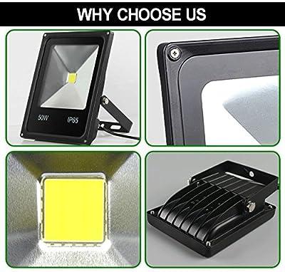 Cold White, 50W : Led outdoor floodlight 10W 20W 30W 50W 70w 100w Led spotlight 110V 220v waterproof IP65 high power outside landscape lighting