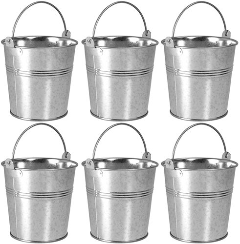 6 x Small 9cm Galvanised Metal Serving Buckets / Cutlery Caddies ProdBuy Limited