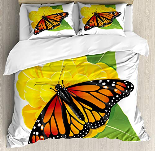 Ambesonne Butterfly Duvet Cover Set Queen Size, Monarch Breed Moth Insect Flower Leaves on, Decorative 3 Piece Bedding Set with 2 Pillow Shams, Yellow Burnt Orange Lime Green and Charcoal Grey