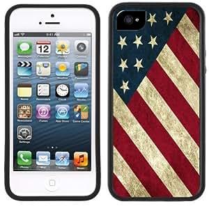 American Flag USA Handmade iPhone 5 Black Bumper Plastic Case
